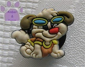 Brown and Cream Dog in T-shirt and sunglasses shoe or clog charm for Crocs