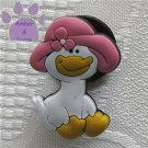 Duck shoe or clog charm for Crocs with pink hat