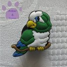Green and white parrot shoe or clog charm for Crocs