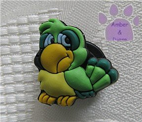 Green and yellow parrot shoe or clog charm for Crocs 9021