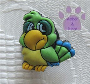Green and yellow parrot shoe or clog charm for Crocs 9046