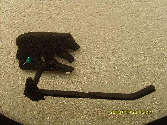 Iron Work Black Bear Toilet Tissue Holder