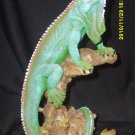 Green Polyresin Iguana on Log Figurine