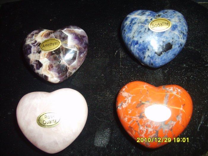 "Set of Four Gemstone ""Puff"" Pocket Hearts 45mm"