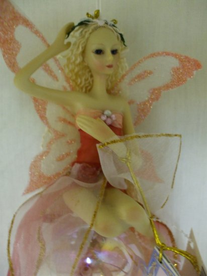 Porcelain Hanging Fairy with Wings on Glass Ornament:pink