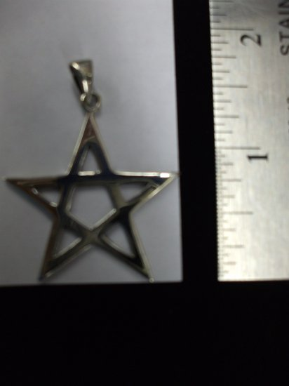 .925 Sterling Sliver Large Upright Pentacle/Pentagram