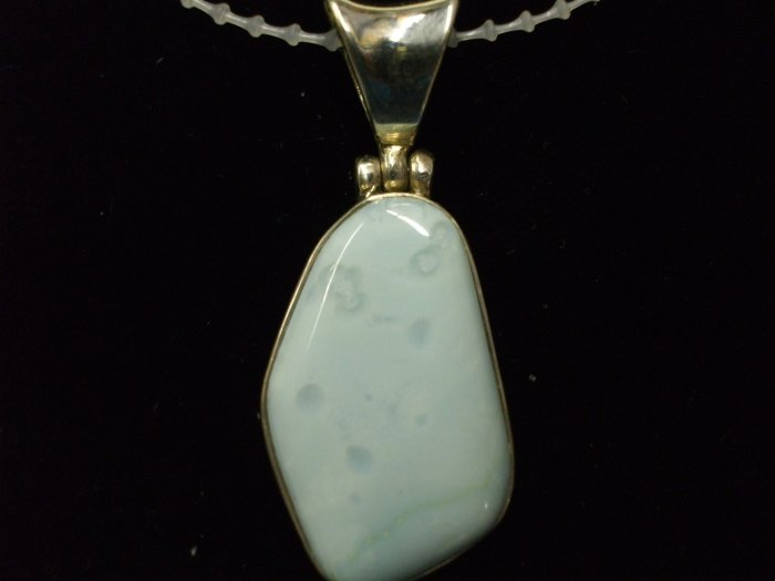 Andean Blue Opal Pendant Set in Sterling Silver w/ Bail
