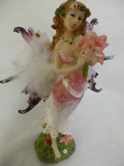 """8.5"""" Feathery Butterfly Boquet Fairy From The Fairy Hollow Collection: Red"""