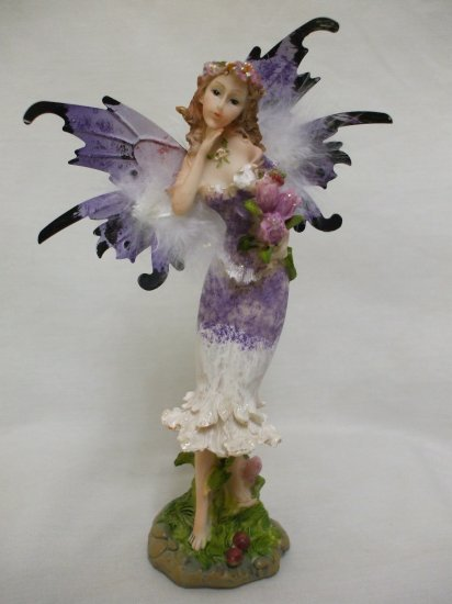 """8.5"""" Feathery Butterfly Boquet Fairy From The Fairy Hollow Collection: Purple"""
