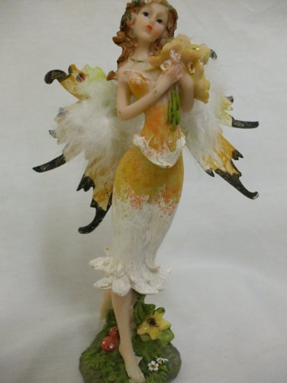 """8.5"""" Feathery Butterfly Boquet Fairy From The Fairy Hollow Collection: Orange"""
