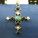 Pearl,Onxy, Turquoise Pendent