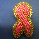 Handmand beaded pink ribbon