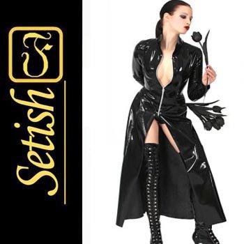 Sexy Costume Latex catsuit Latex Dust Coat   #skn014