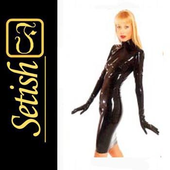Red Sexy  catsuit Latex Rubber Dress  #skn030