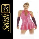Pink Sexy  catsuit Latex Rubber Dress  #skn036