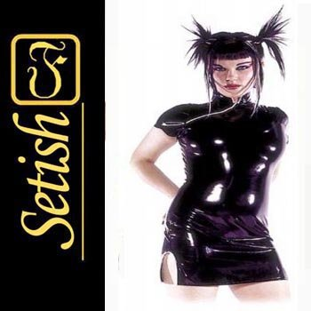Black Sexy  catsuit Latex Rubber Dress  #skn045