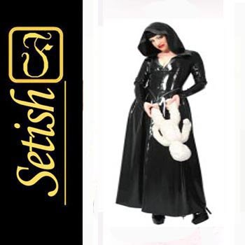 New Black Rubber Catsuit  Sexy Latex Dress  #skn055