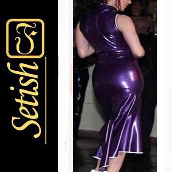 Purple Rubber Corset  Sexy Latex Dress SYS028