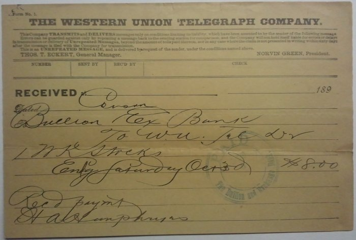 Western Union telegram, October 3, 189-, Carson City NV