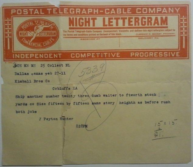Postal Telegraph-Cable Company Night Lettergram 1911