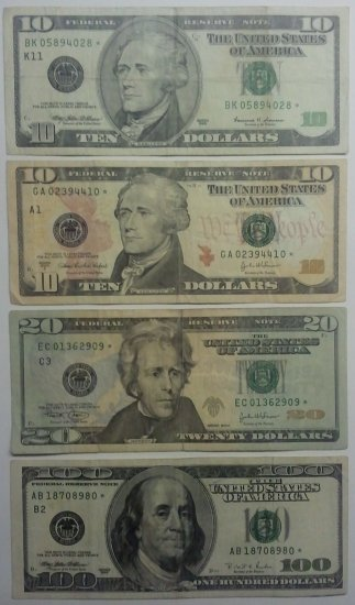 Lot of 4 Federal Reserve Star Notes, 2-$10, $20, $100