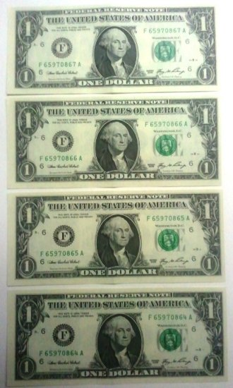 Lot of 4 $1 2006 FEDERAL RESERVE NOTES- consecutive Serial #s