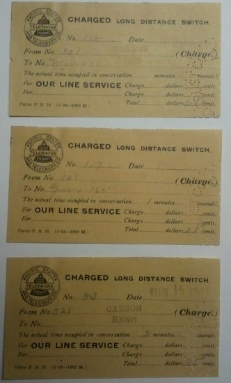 Lot of 3 Long Distance Charge Tickets-Pacific States Telephone Co 1904