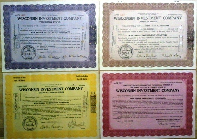 Four piece set/lot of Wisconsin Investment Company Stocks