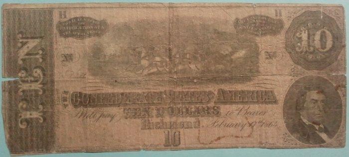 February 17, 1864 $10 Confederate note, T68