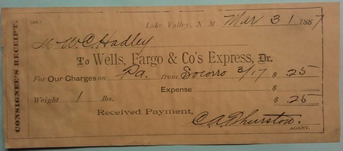 Consignee's receipt dated March 31, 1887 to Wells Fargo