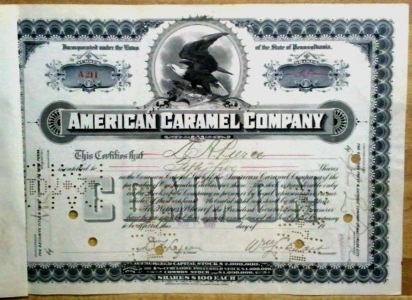 American Caramel Company stock certificate dated November 5, 1900