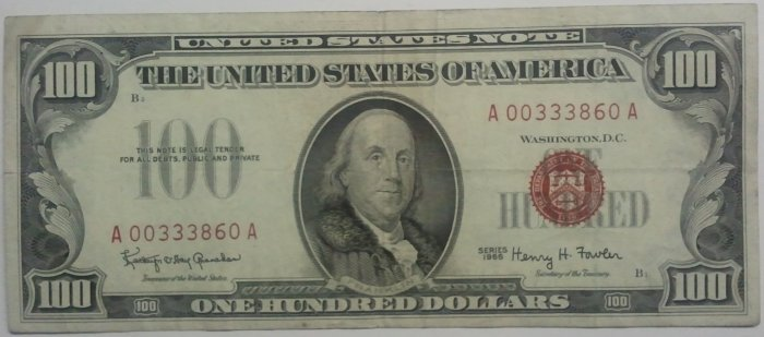 1966 Red Seal $100 Legal Tender US Note - VERY FINE