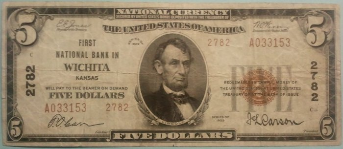1929 $5 First National Bank in Wichita KS, Type II