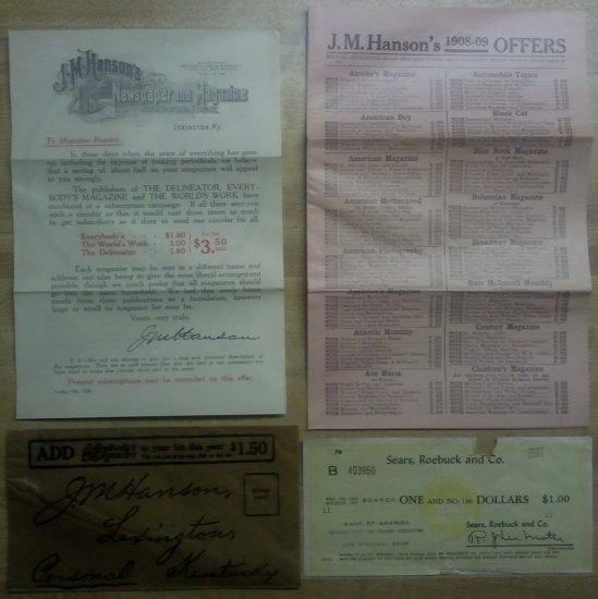 Lot (4) J. M. Hanson's Advertisement and Sears Roebuck