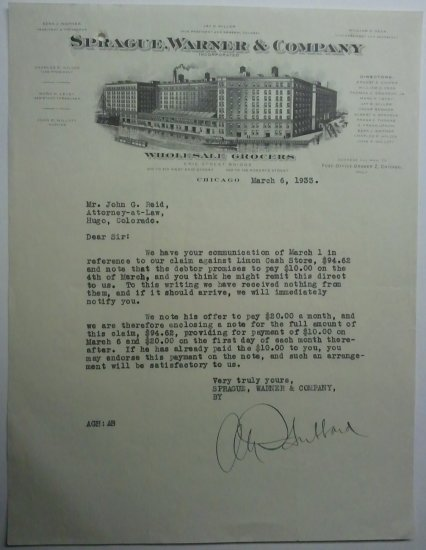 1933 Letter from atty re:claim against Limon Cash Store