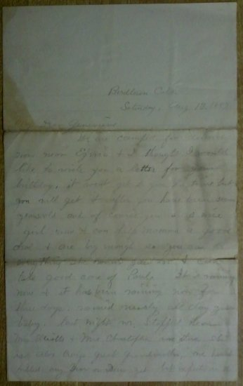 """1887 B-Day Letter from """"Papa"""" to his 7 year old daughter"""