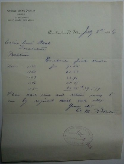 1886 NM and AZ territorial letter, Carlisle Mining Co.