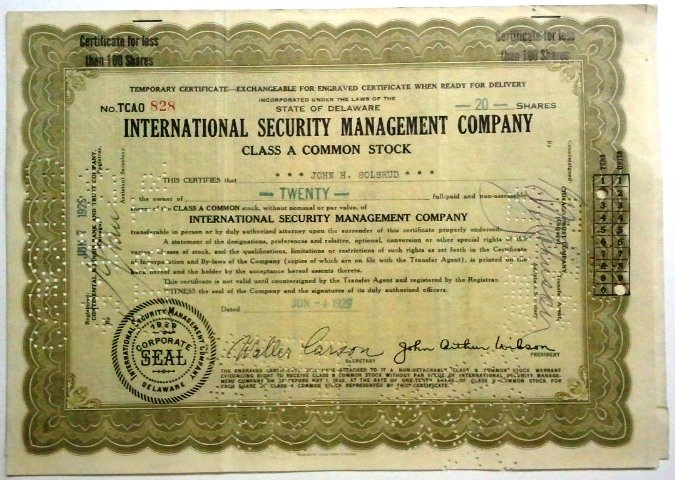 1929 International Security Management Co Stock Certificate