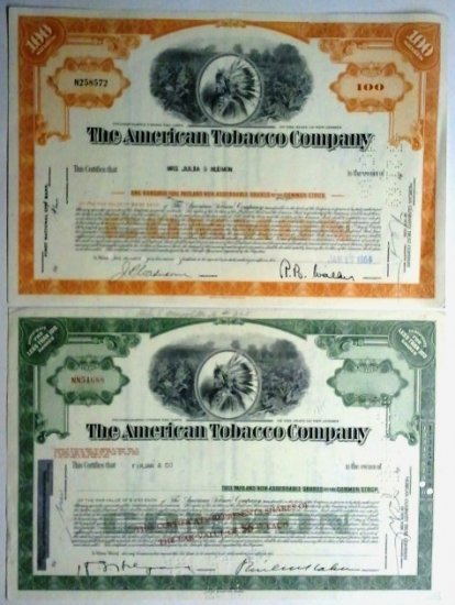 Lot of 2-American Tobacco Company Stock Certs- Indian Vignette