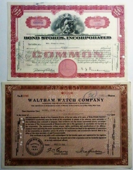 Lot of 2-Waltham Watch Co & Bond Stores Stock Certificates