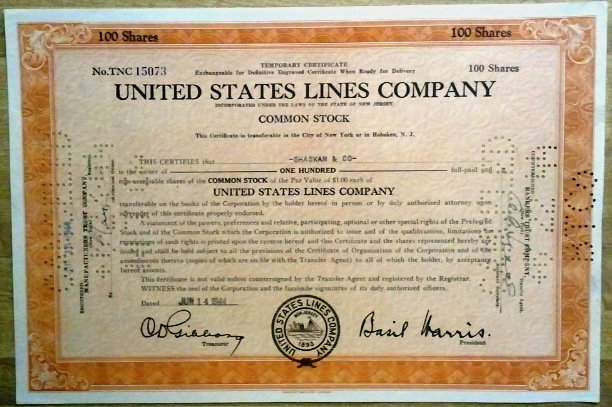 United States Lines Co. Stock Certificate 100 shares
