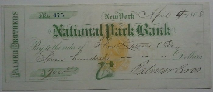 1868 National Park Bank, New York, check
