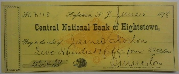 1878 Central National Bank of Hightstown NJ