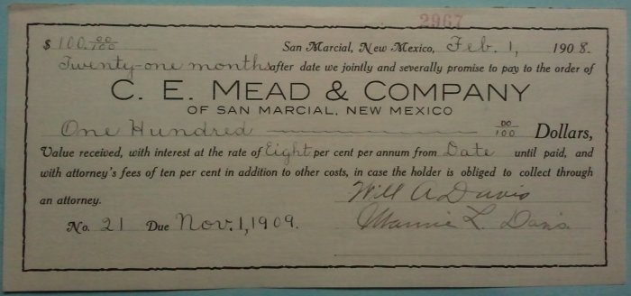 1908 San Marcial NM, Promisory Note