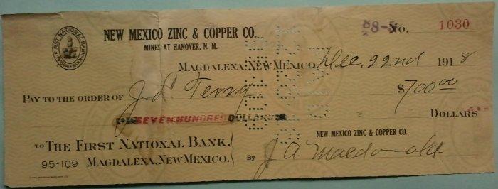 1918 New Mexico Zinc & Copper Co. check