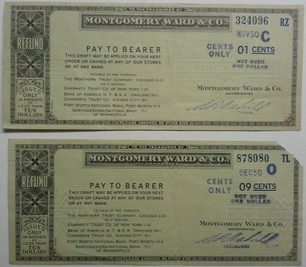 Lot of 2 Montgomery Ward & Co. refund checks
