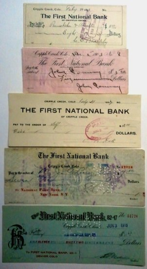 Lot of 5-First Natonal Bank of Cripple Creek, CO Checks