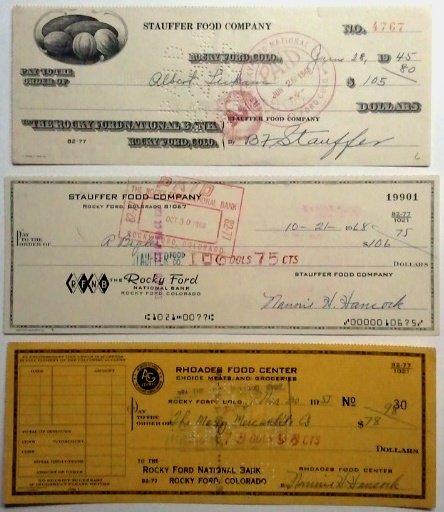 Rocky Ford Co.-Lot (3) Food Company Checks, 1945-55-68