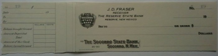 Socorro State Bank, Reserve New Mexico- unused