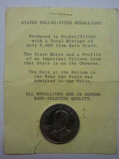 Henry M. Rice Silver Dollar-Sized Medallion-Minnesota